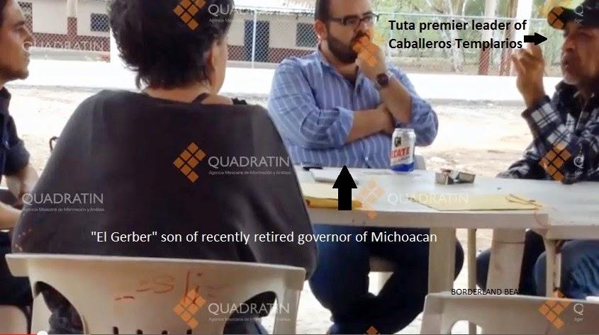 Vallejo Mora having a beer with cartel leader of Los Templarios La Tuta